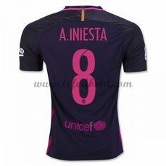 Billige Fodboldtrøjer Barcelona 2016-17 A. Iniesta 8 Kortærmet Udebanetrøje