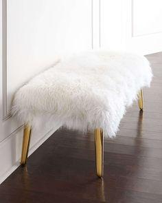 Long-Haired Sheepskin Bench, Sheepskin/Brass - Jonathan Adler