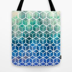 The Geometry of Bees and Boxes - cobalt blue, emerald green, mint & white Tote Bag by micklyn - $22.00