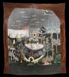 Tre citroner. Anna Casparsson (1861 - 1961). Broderi och applikation på sammet, silke, metalltråd, glaspärlor, bemålningar. 126 x 144 cm. Saltsjöbaden, ca...