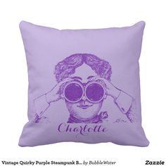 Vintage Quirky Purple Steampunk Binoculars Ad Throw Pillows