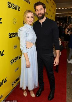 Co-stars: Real-life married couple Emily Blunt and John Krasinski beamed as they posed together for their film A Quiet Place's premiere at the South By Southwest Film Festival