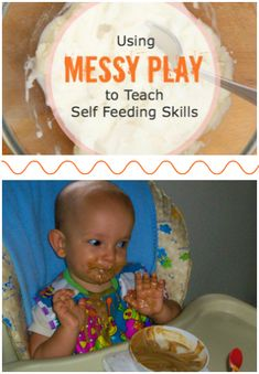 Using Messy Play to Teach Self Feeding Skills: Have fun with edible play that can also teach kids how to feed themselves!