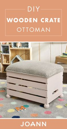 dyi crates diy projects home decor Turn a wooden crate into a cozy furniture piece with help from this tutorial from JOANN! This DIY Wooden Crate Ottoman would simply be a great addition to your living room. Cozy Furniture, Repurposed Furniture, Pallet Furniture, Furniture Makeover, Bedroom Furniture, Milk Crate Furniture, Furniture Design, Country Furniture, Furniture Outlet