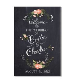Wedding Welcome Sign {20 X 30 Chalkboard W/florals Inspired}