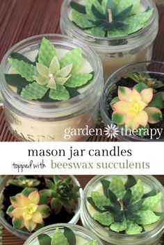 DIY Candle Craft Project  - use cookie cutters and beeswax sheets to make faux succulents on top