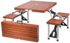 Have this folding picnic table in your backyard. When ready, fold it together and have a great picnic day at the park. This portable picnic table is making things more convenience and affordable. Fold Up Picnic Table, Portable Picnic Table, Wooden Picnic Tables, Camping Table, Camping Gear, Backpacking Gear, Camping Gadgets, Camping Stuff, Hiking Gear