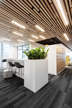 Luxury Office Design Ideas For a Remarkable Interior Designed and photographed for Workplace. Modern Office Design, Office Interior Design, Office Ceiling Design, Office Designs, Office Ideas, Office Space Design, Modern Office Spaces, Room Interior, Industrial Office Space