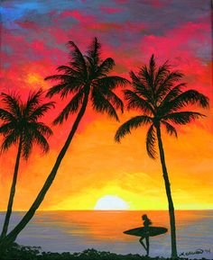 Tropical Sunset Surfer Print by Amy Scholten. All prints are professionally printed, packaged, and shipped within 3 - 4 business days. Choose from multiple sizes and hundreds of frame and mat options. Beach Sunset Painting, Night Sky Painting, Sunrise Painting, Sunset Art, Drawing Sunset, Sunset Canvas, How To Paint Sunset, Sunset Acrylic Painting, Painting Abstract