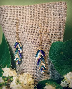 Beaded Feather Drop Earrings Nature-Inspired by BefittingBeads