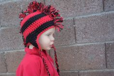 fdff51134b561 Items similar to Texas Tech University Red and Black Crochet Mohawk Child  or Adult Team Hat on Etsy · GorrosSombreros ...