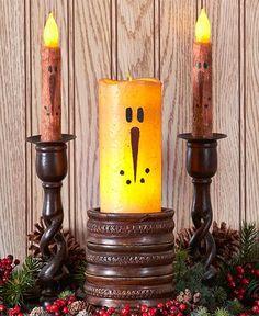 Primitive Rustic Snowmen Candles LED Taper Pillar Nostalgic Christmas Winter…