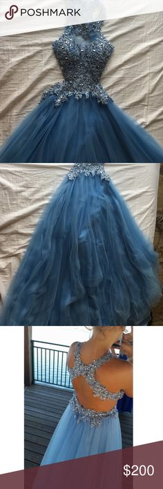 Camille La Vie Prom dress Prom dress or Cinderella's ball dress? Very beautiful and elegant for prom. Gems with lace at top then flows down. Has built in cups, no need for a bra. Open back. Worn once. Size 4. Camille La Vie Dresses Prom