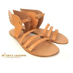 WINGED LEATHER SANDALS from 100% Full Grain Leather in Natural - Gold - Black color by NickysLeather