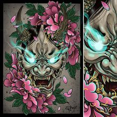 drawing Did this hannya and peonies, possibly gonna make printsDid this hannya and peonies, possibly gonna make prints Colour study Image of Full Force Hannyah Jason Lau ( Japanese Mask Tattoo, Japanese Tattoo Designs, Japanese Sleeve Tattoos, Hannya Samurai, Samurai Tattoo, Hannya Mask Tattoo, Hanya Tattoo, Neue Tattoos, Body Art Tattoos
