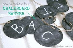Looking for a quick and inexpensive banner? This Faux Chalkboard Banner is a fun way to customize decor for any event. Chalkboard Markers, Chalkboard Banner, School Chalkboard, Chalk Markers, Easy Crafts To Make, Diy Crafts For Adults, Diy Crafts Hacks, Cute Crafts, Circle Template