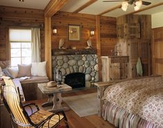 love the fireplace in the rustic bedroom Cozy Bedroom, Dream Bedroom, Cabin Bedrooms, Lodge Bedroom, Bedroom Ideas, Master Bedroom, Rustic Bedrooms, Dream Rooms, Bedroom Decor