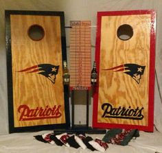 New England Patriots cornhole boards www.facebook.com/skatoolicornhole