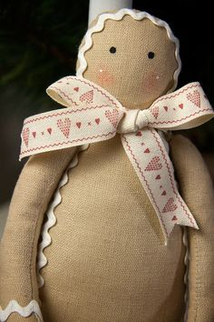 Mr Gingerbread  soft fabric ornament doll by BagOfSecrets on Etsy.