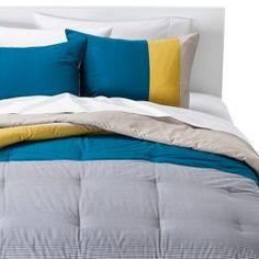 Room Essentials® Stripe Colorblock Comforter Set - Teal (Full/Queen)