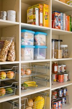 Kitchen pantry sample - adjustable shelves and pull out bins