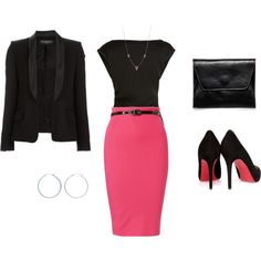love the pink skirt and christian louboutin suede shoes