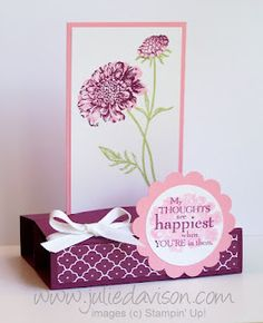video tutorial for Free Standing Pop Up Card using Stampin' Up! Field Flowers by Julie Davison, www.juliedavison.com