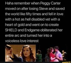 I have been saying since Endgame that the Russo's are probably happy that Agent Carter was cancelled before Peggy and Daniel started a relationship, so they can say that Steve was always Peggy's husband. Funny Marvel Memes, Dc Memes, Avengers Memes, Avengers Trailer, Marvel Dc Comics, Marvel Avengers, Captain Marvel, Marvel Women, Johnlock