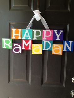 "The ""wreath"" I made this year to hang on my door. First #ramadan in our new home so I used the word happy, and did it in english rather than arabic to get neighbors asking questions 