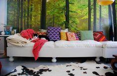 Decoração de: quarto de solteiro; cama branca com almofadas coloridas; Casa de Valentina