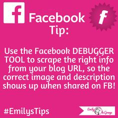 Use the Facebook DEBUGGER TOOL to scrape the right info from your blog URL, so the correct image and description shows up when shared on Facebookhttps://developers.facebook.com/tools/debug/#EmilysTips