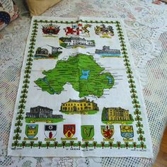 VINTAGE IRISH Linen TOWEL Northern Ireland Counties by AzaleaTrail