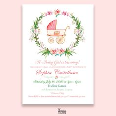 Water color Wreath & Stroller,  Garden Themed Baby Girl Shower Invitation.  Watercolor Baby Shower Invitation.  Pink Baby shower invitation. by U4riaDesignLLC on Etsy