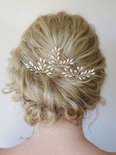 Rice Pearl Crystal Hair Vine Wedding Hair by RoslynHarrisDesigns