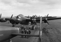 Canadian built Lancaster Xs with 419 Sqn at Middleton St. George in May 1944.