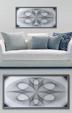 """Ellipse in Silver Gray, Abstract Wall Decor, 3D Modern String Art, Framed 24,4""""x 12,6"""" (62x32cm) or 32,2""""x 17,7""""(82x 45cm), ready to hang"""