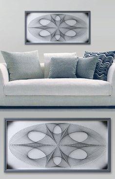 Elipse en gris plata cuadros abstractos arte por FeniksArtDeco