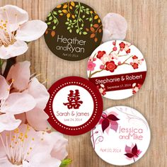 Wedding Favors & Party Supplies - Favors and Flowers :: Favor Packaging :: Hang Tags and Stickers :: Asian Personalized Round Stickers - 12 pcs