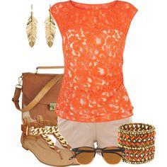 """Orange"" by stylishartist on Polyvore"