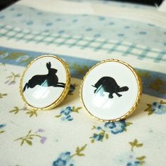 Stud Earrings Gold plated with Black Rabbit and by allcraftsharing, $4.99.
