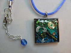 Polymer clay pendant necklace resin and foil by TerrysJewelryStop, $16.00