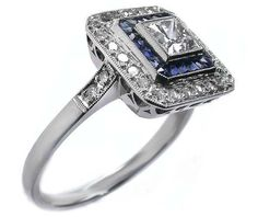 Engagement Ring -Princess cut Diamond Art Deco Blue & White Square Halo Engagement Ring-ES1120PR