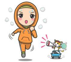 Flower Hijab 2 by Imran Ramadhan sticker Islamic Cartoon, Anime Muslim, Hijab Cartoon, Chibi Girl, Cute Cartoon Wallpapers, Drawing Skills, Line Sticker, Cute Stickers, Cartoon Art