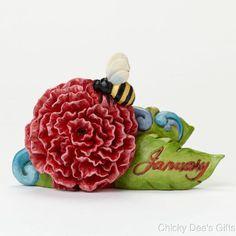 Jim Shore January Carnation with Garnet 4040655 Monthly Birthday Flowers NEW