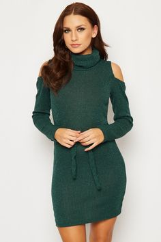 Shawana Belted Cold Shoulder Dress | WearAll Find this gorgeous item at https://www.wearall.com/