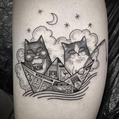 Kitty and Elmo on their way to Hamburg! Mom Tattoos, Great Tattoos, Couple Tattoos, Beautiful Tattoos, Body Art Tattoos, Sleeve Tattoos, Tatoos, Cute Animal Tattoos, Surreal Tattoo