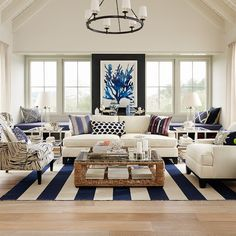 Wide Stripe Dhurrie Rug | Williams-Sonoma Royal Blue and Champagne! <3