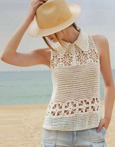 Crochet Blusas crochet White top decorated with flower rows and a small collar - Sleeveless Crochet Top with Floral Squares and Collar- free crochet top pattern. T-shirt Au Crochet, Beau Crochet, Pull Crochet, Mode Crochet, Crochet Shirt, Crochet Woman, Irish Crochet, Crochet Tops, Crochet Sweaters
