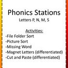 This pack includes phonics activities for literacy stations or independent work. It focuses on the letters P, N, M, and S, which are the consonants introduced by Saxon Phonics. Preschool Learning Activities, Preschool Class, Teaching Ideas, Kindergarten, First Grade, Second Grade, Saxon Phonics, Literacy Stations, Home Schooling