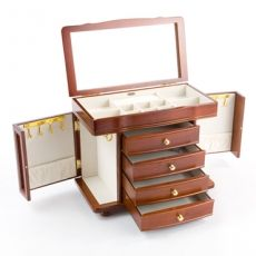 Mele & Co 'Isobel' Walnut & Burl Effect Wooden Large Jewellery Box